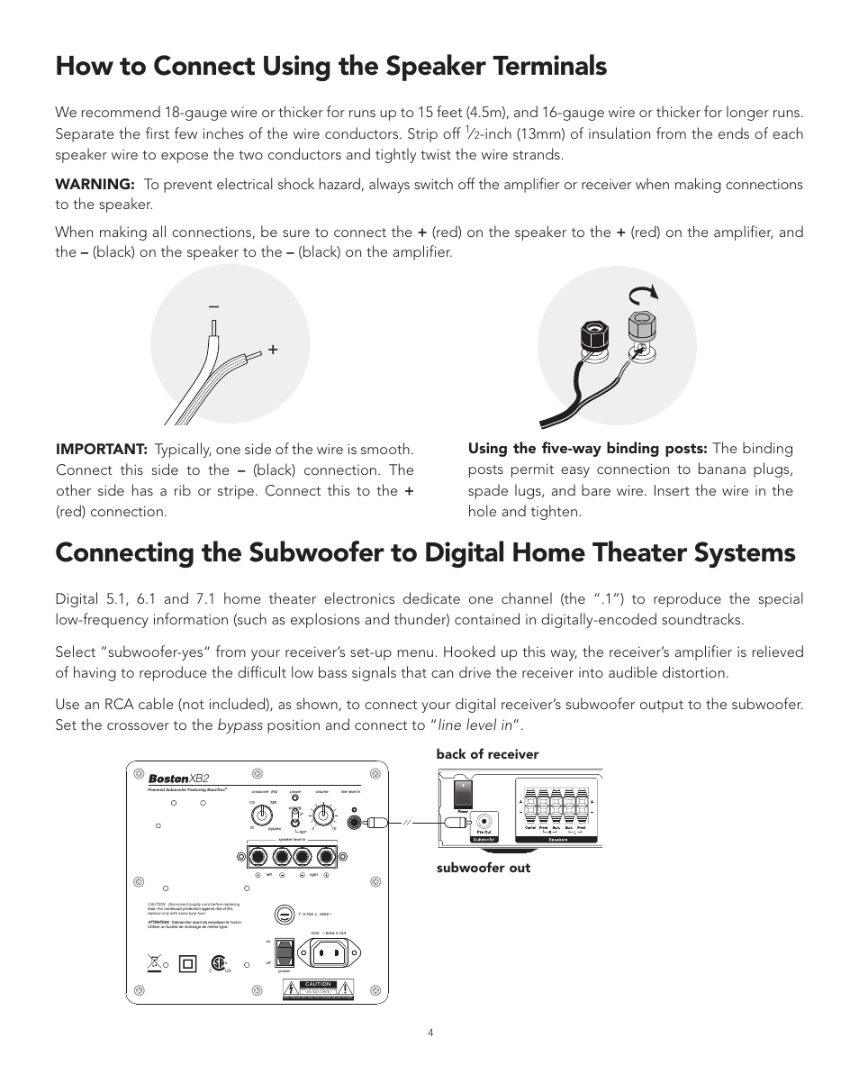 How To Connect Using The Speaker Terminals Back Of Receiver Hook Up Subwoofer Out Boston Acoustics Xb2 User Manual Page 4 24