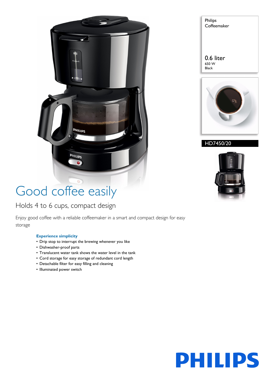 0e3e9c7d33f Philips Daily Collection Coffee maker HD7450-20 With glass jug Black User  Manual