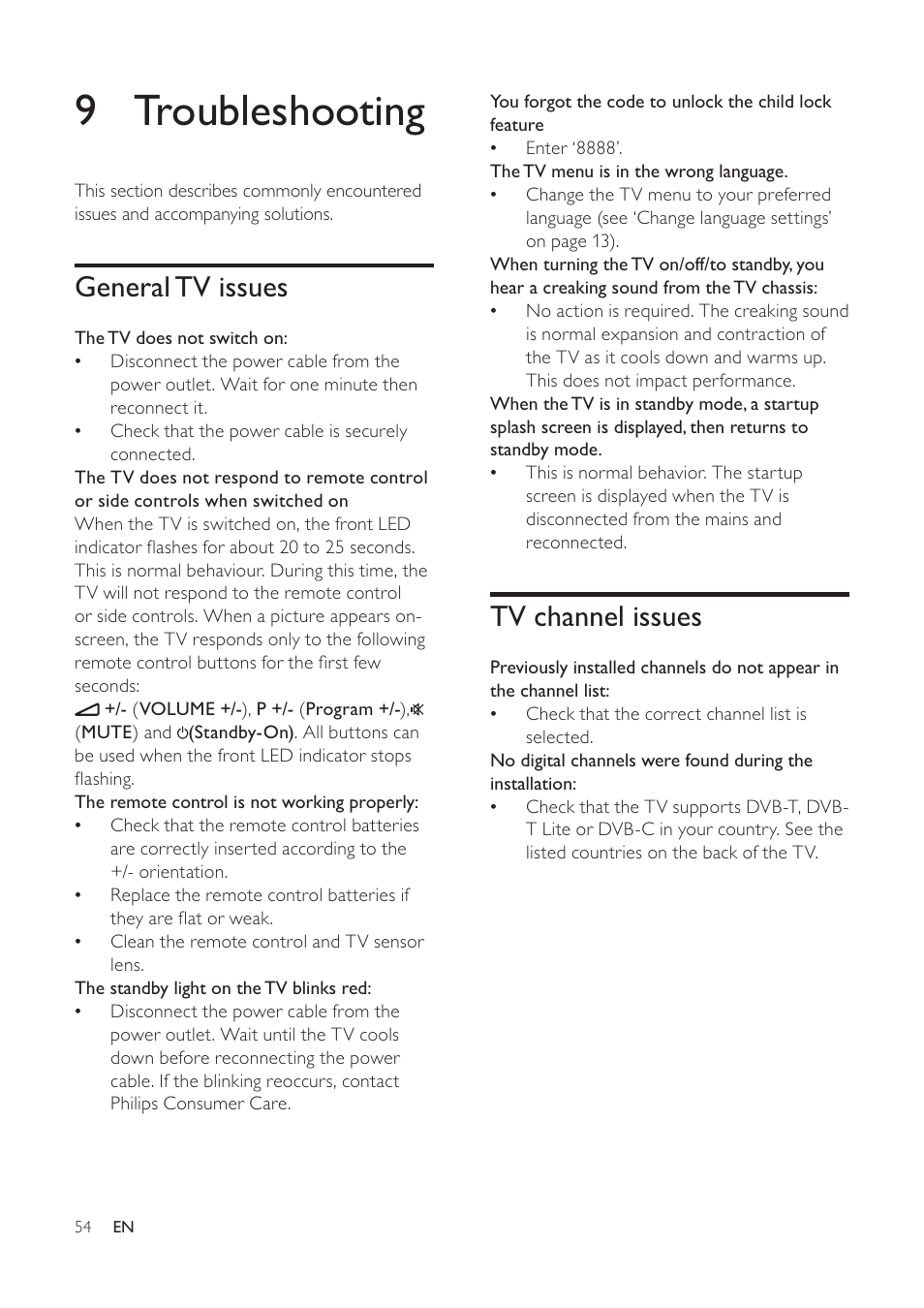 9 troubleshooting, Tv channel issues, General tv issues | Philips