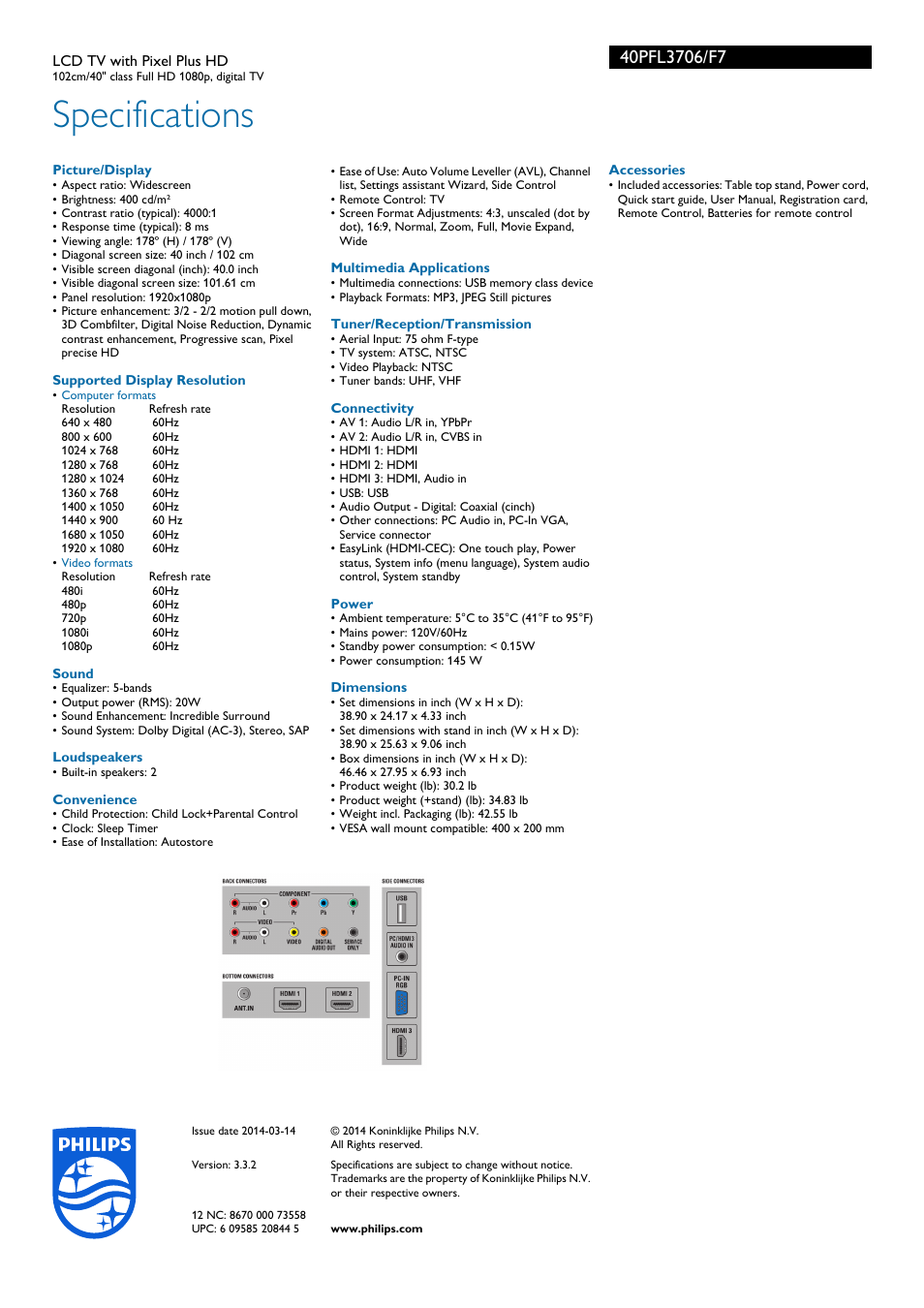 Specifications | Philips 40PFL3706-F7 User Manual | Page 3 / 3