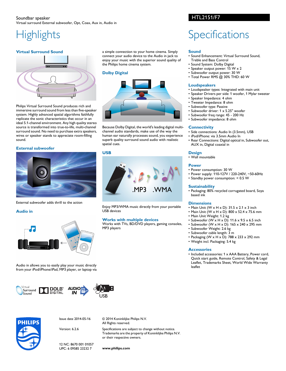 Highlights, Specifications | Philips HTL2151-F7 User Manual