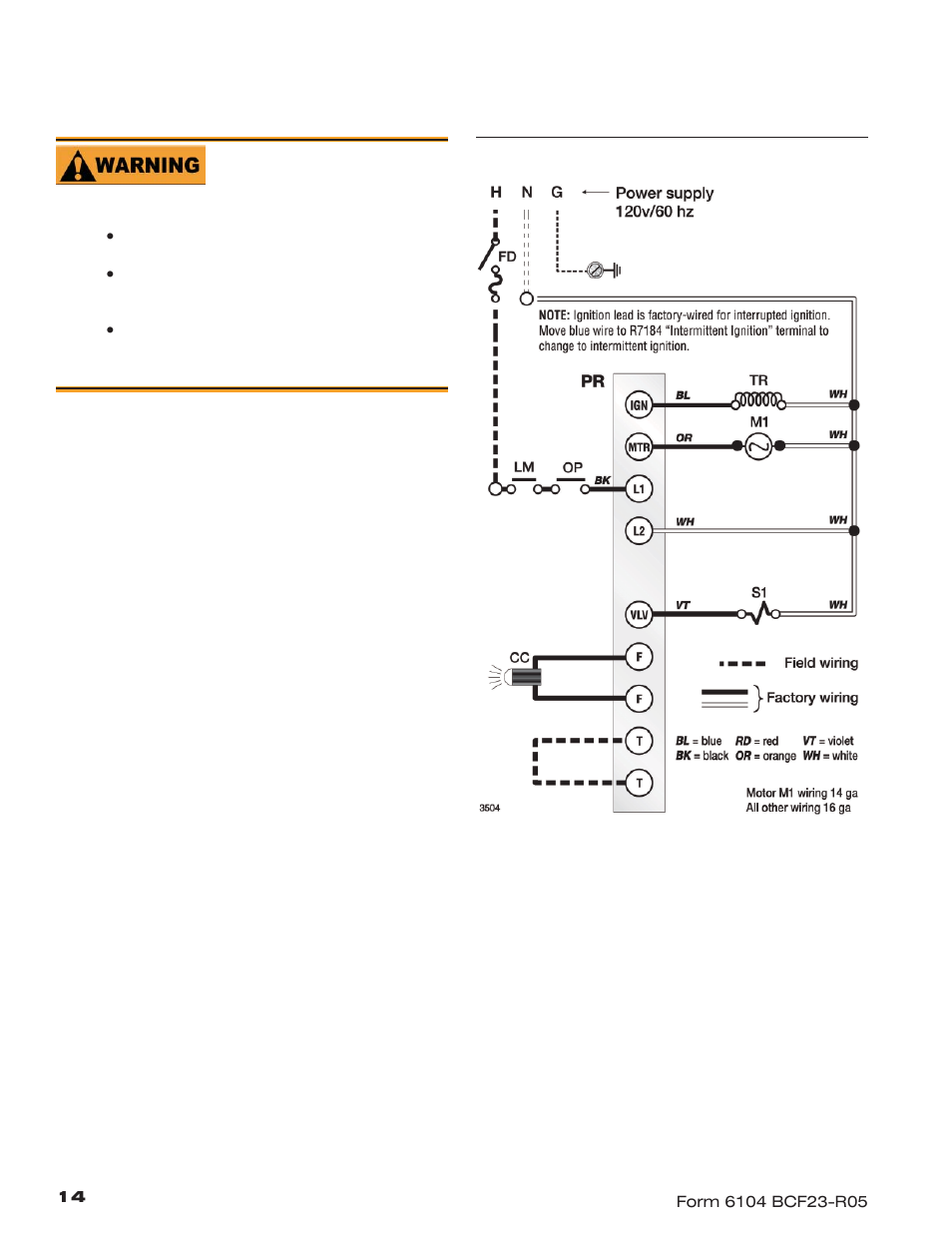 Wire the burner, R7184b | Beckett CF1400 User Manual | Page 14 / 24Manuals Directory