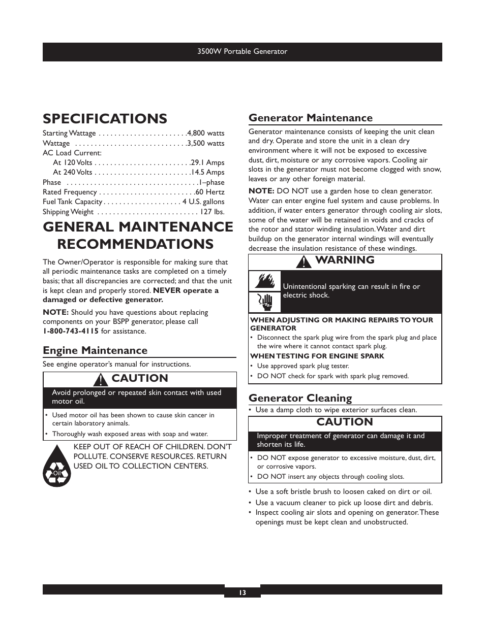 Specifications, General maintenance recommendations, Engine