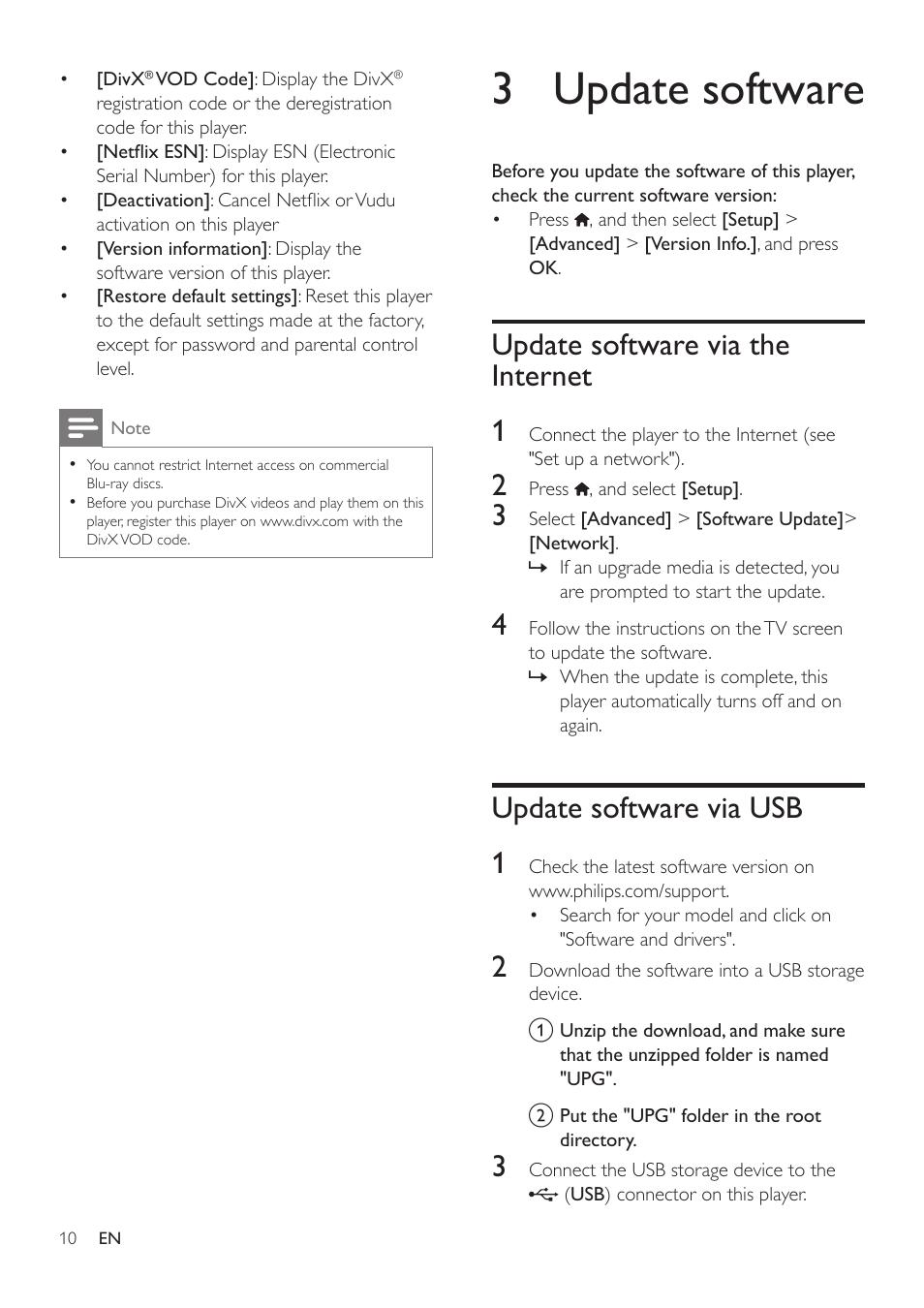 3 update software, Update software via the internet, Update software
