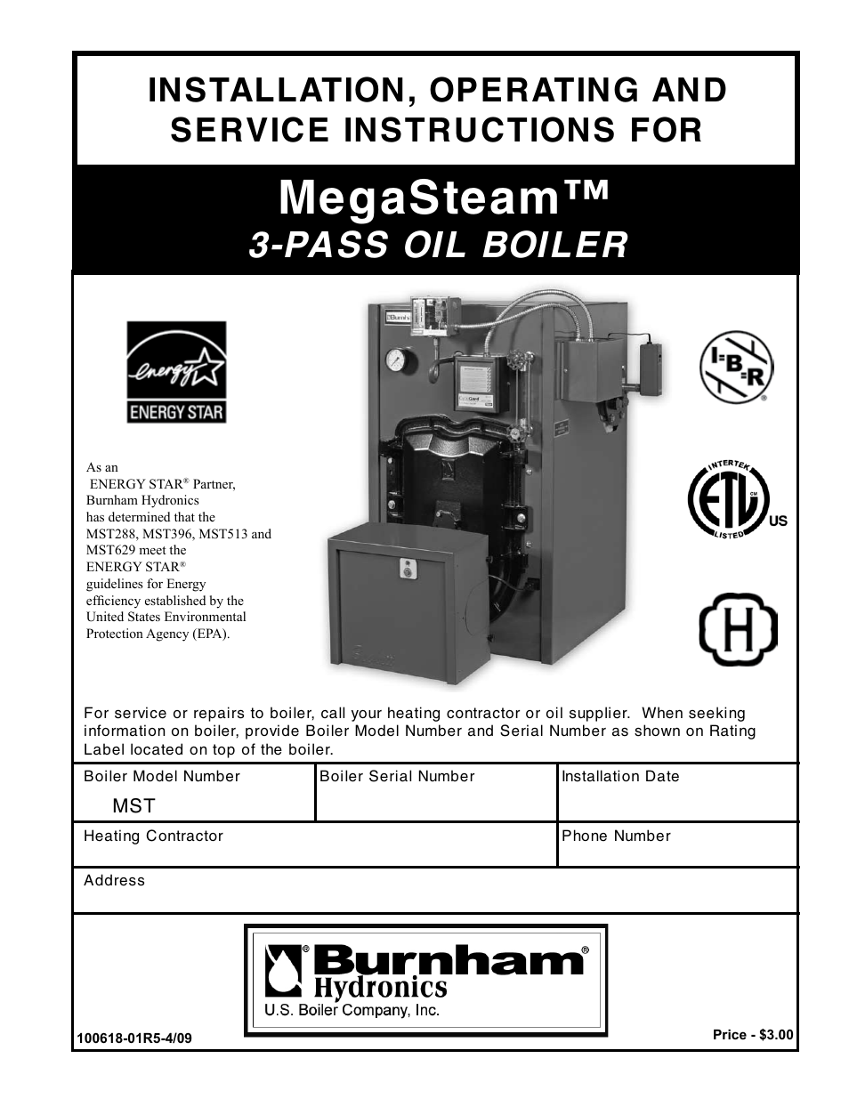 Burnham MEGASTEAM MST288 User Manual | 68 pages | Also for ...