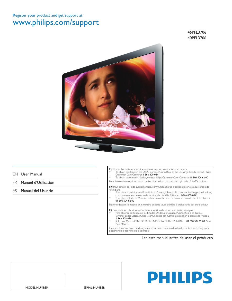 philips 46pfl3706 f7 user manual 36 pages original mode also rh manualsdir com Philips Universal Remote User Manual Philips Flat TV Manual