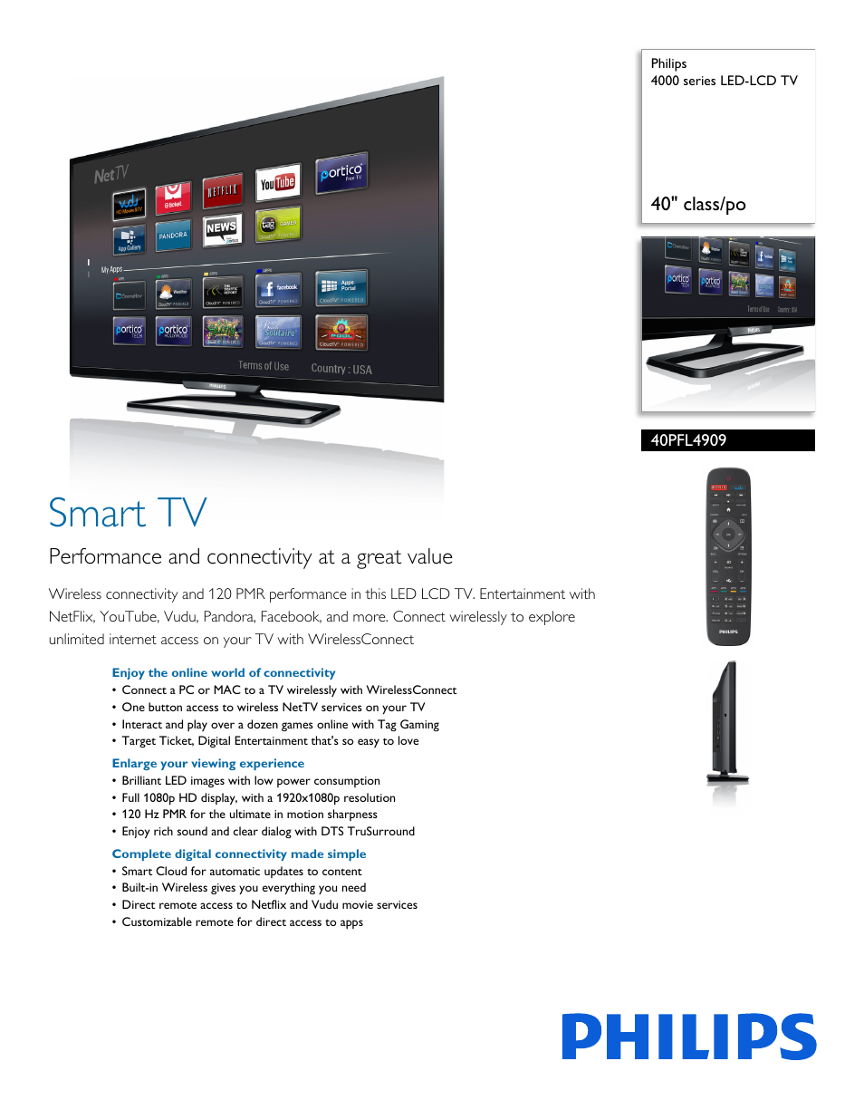 philips 4000 series led lcd tv 40pfl4909 40 quot class po user rh manualsdir com LED TV philips 42pfl7662d lcd tv manual