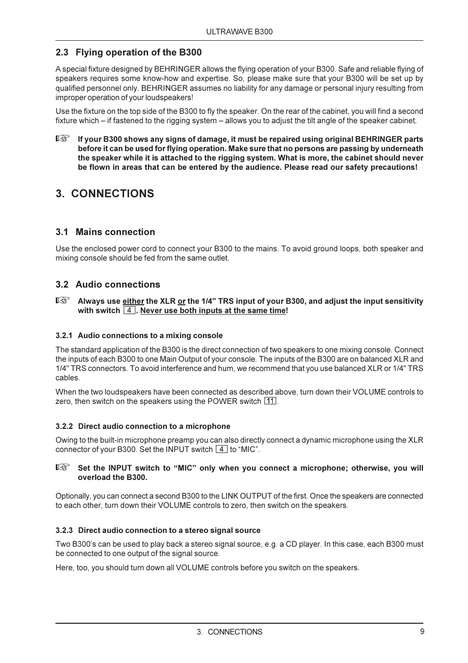 Connections | Behringer ULTRAWAVE B300 User Manual | Page 9 / 13