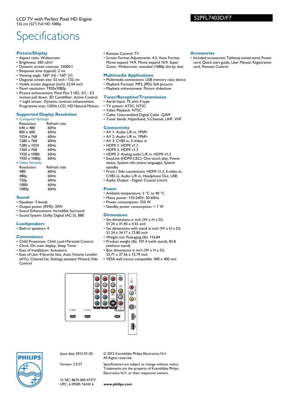 specifications philips 52pfl7403d f7 user manual page 3 3 rh manualsdir com