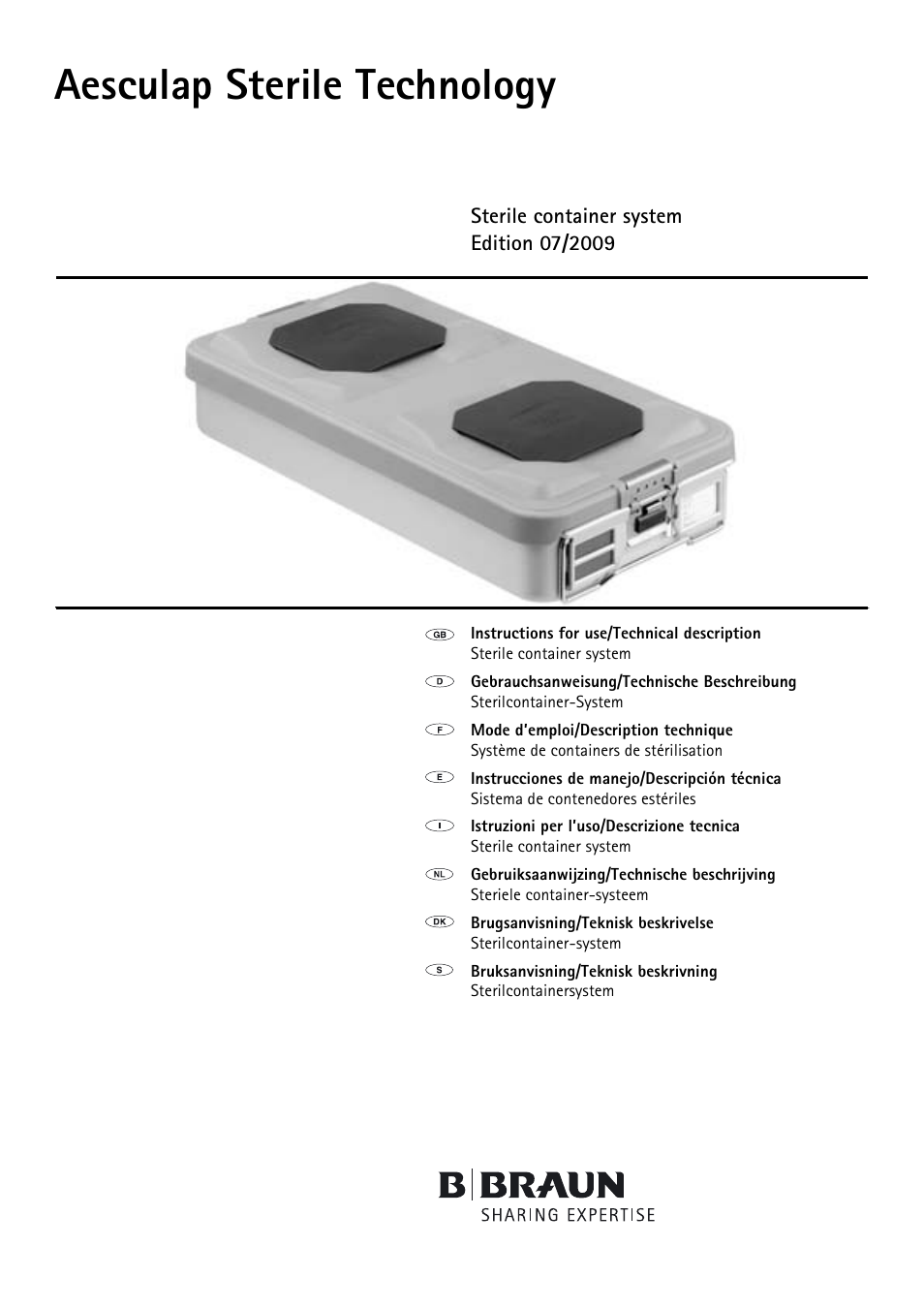 Braun Sterile Container System 9-Jul User Manual | 84 pages