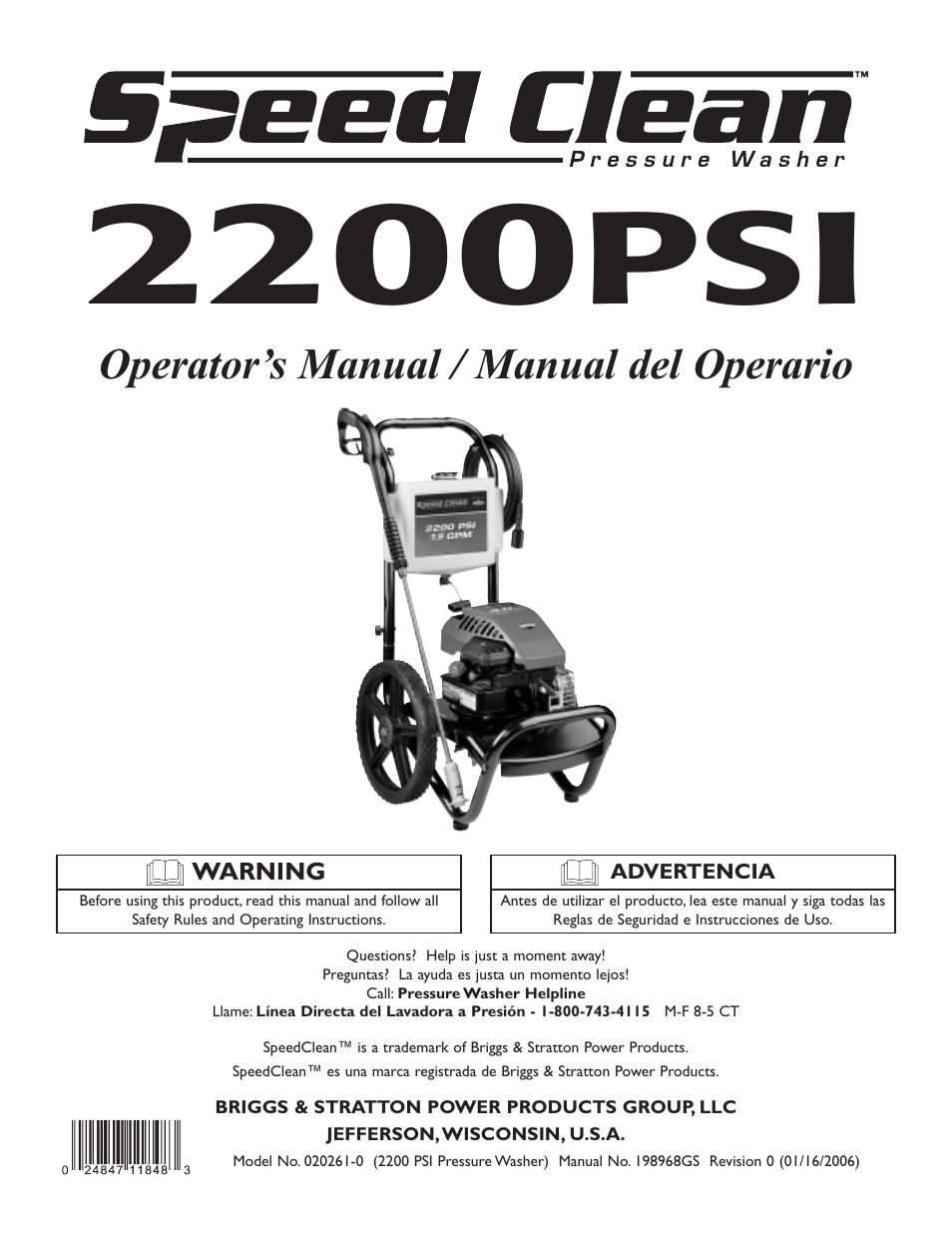 Briggs & Stratton 020261-0 User Manual | 36 pages