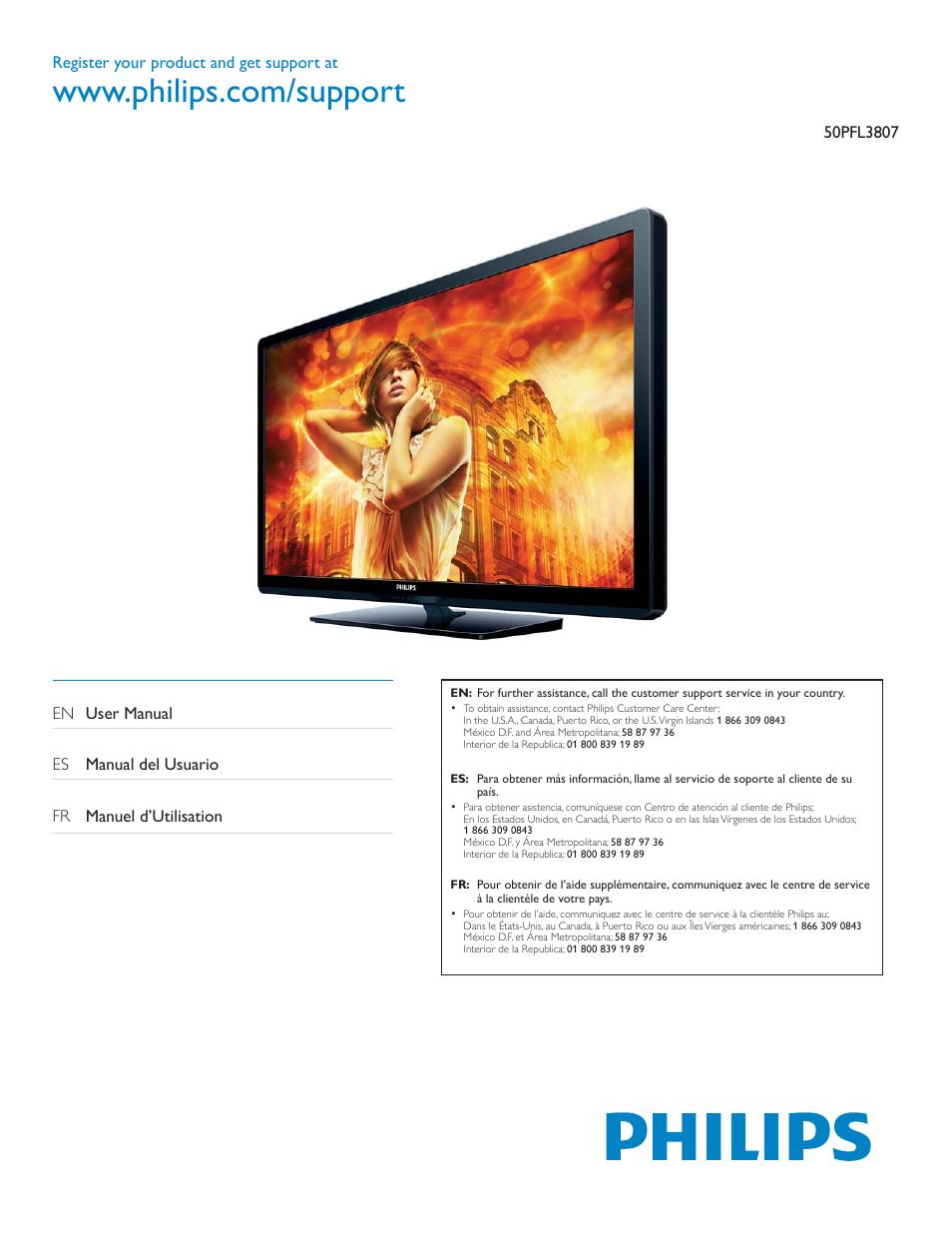 philips 50pfl3807 f7 user manual 67 pages rh manualsdir com Philips TV Manual Philips Flat TV Manual