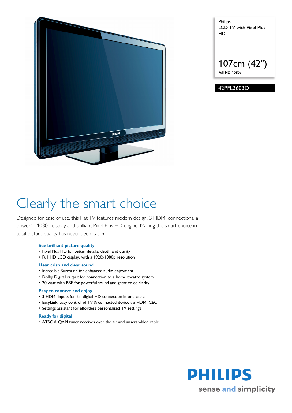 Philips 42PFL3603D-F7 User Manual | 3 pages
