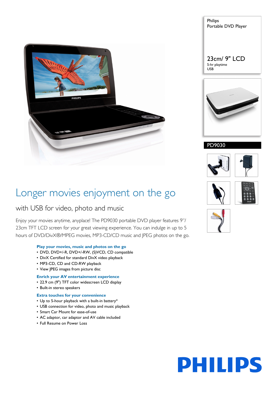 """Philips Portable DVD Player PD9030 23cm- 9"""" LCD 5-hr playtime USB User  Manual   3 pages"""