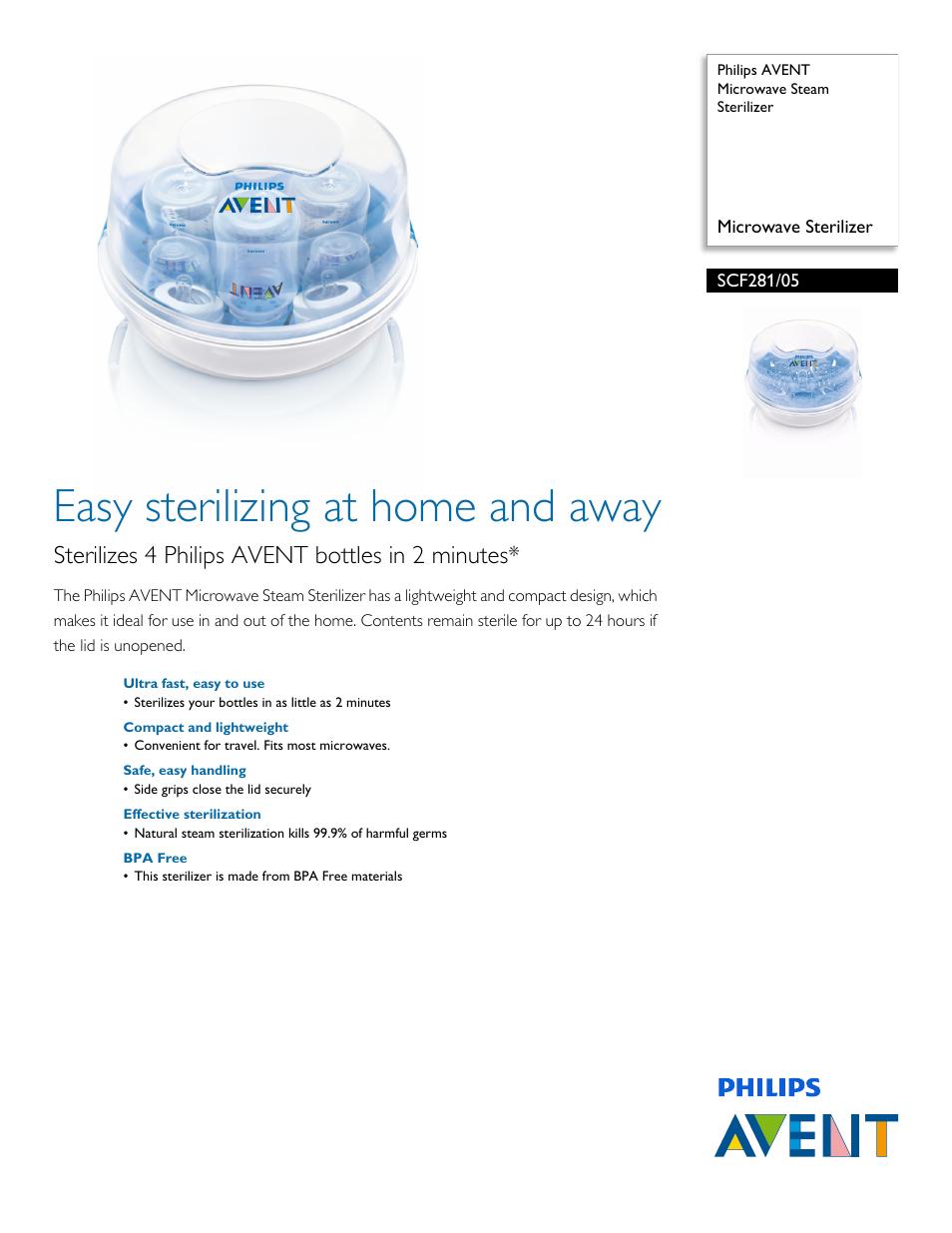 Philips Avent Microwave Steam Sterilizer Scf281 05