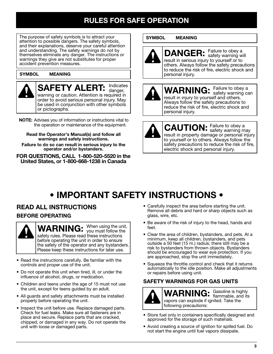 Warning: • important safety instructions, Warning, Danger   Caution, Safety  alert,