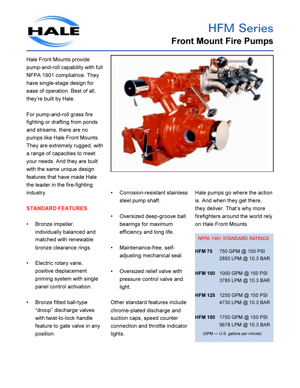 Hfm series, Front mount fire pumps | Hale HFM User Manual | Page 5 / 42