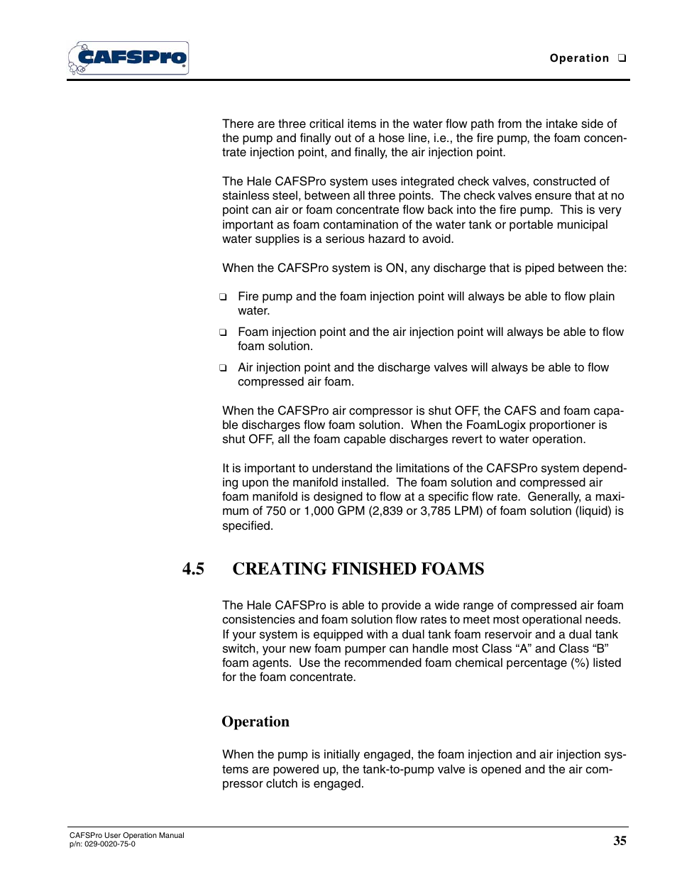 5 creating finished foams, Operation   Hale CAFSPro User Manual   Page 35 /  72