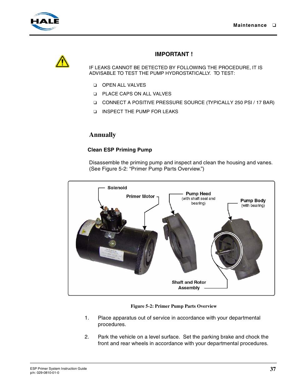 annually, clean esp priming pump, figure 5-2: primer pump parts overview |  hale esp priming system user manual | page 37 / 70