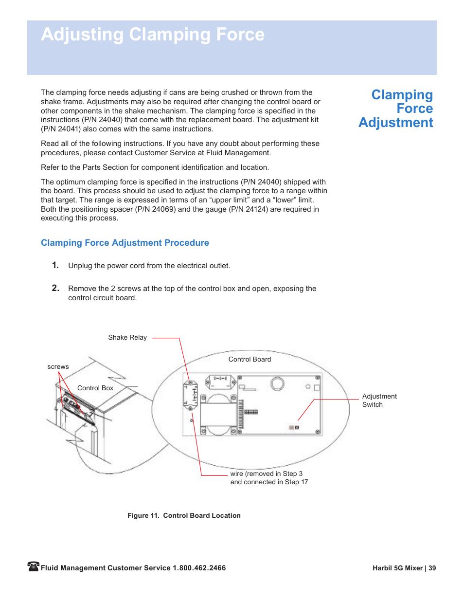 Adjusting clamping force, Clamping force adjustt | Fluid ...