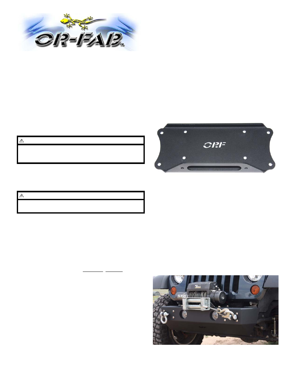 Or Fab 87022 Winch Mounting Plate Fits Rock Slider Non Installing A Jeep Front Bumpers For Jks User Manual 1 Page