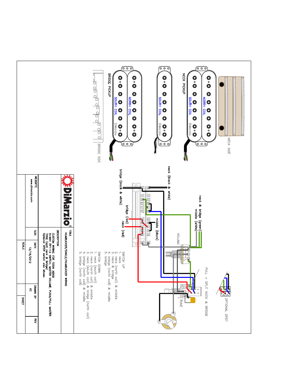 Dimarzio Ionizer 8 Neck User Manual 2 Pages Also For Humbucker Wiring Diagram Middle Bridge