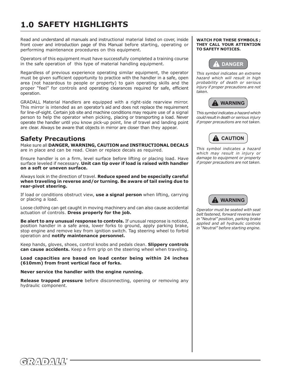 safety highlights safety precautions gradall 534d 10 9134 4052 rh manualsdir com Nakamichi Mini Speaker Manual Legal Practice Manuals