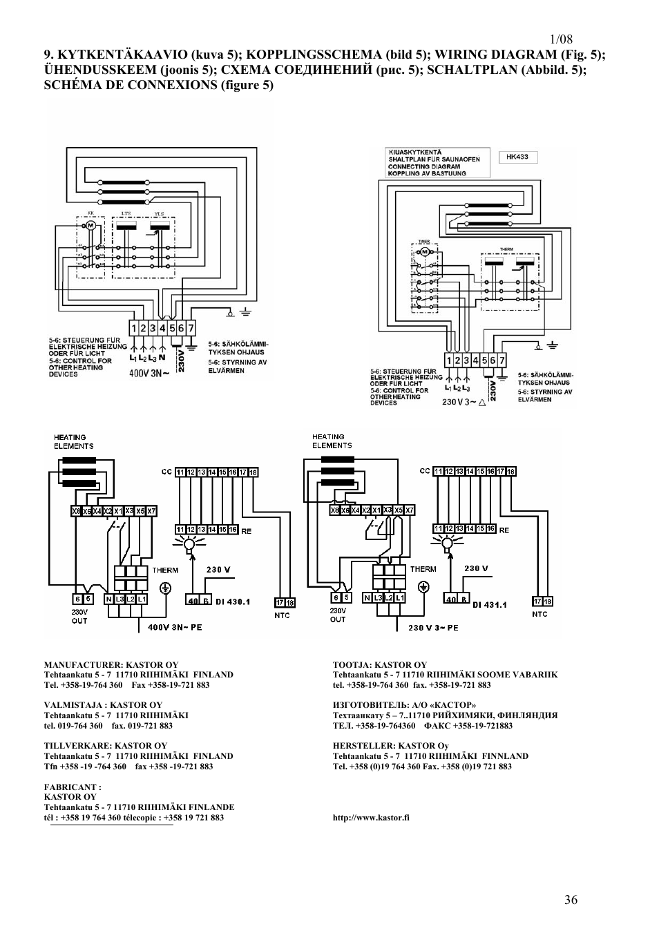 kastor viva electrical sauna stoves page36 kastor viva electrical sauna stoves user manual page 36 36 sauna wiring diagram at mifinder.co