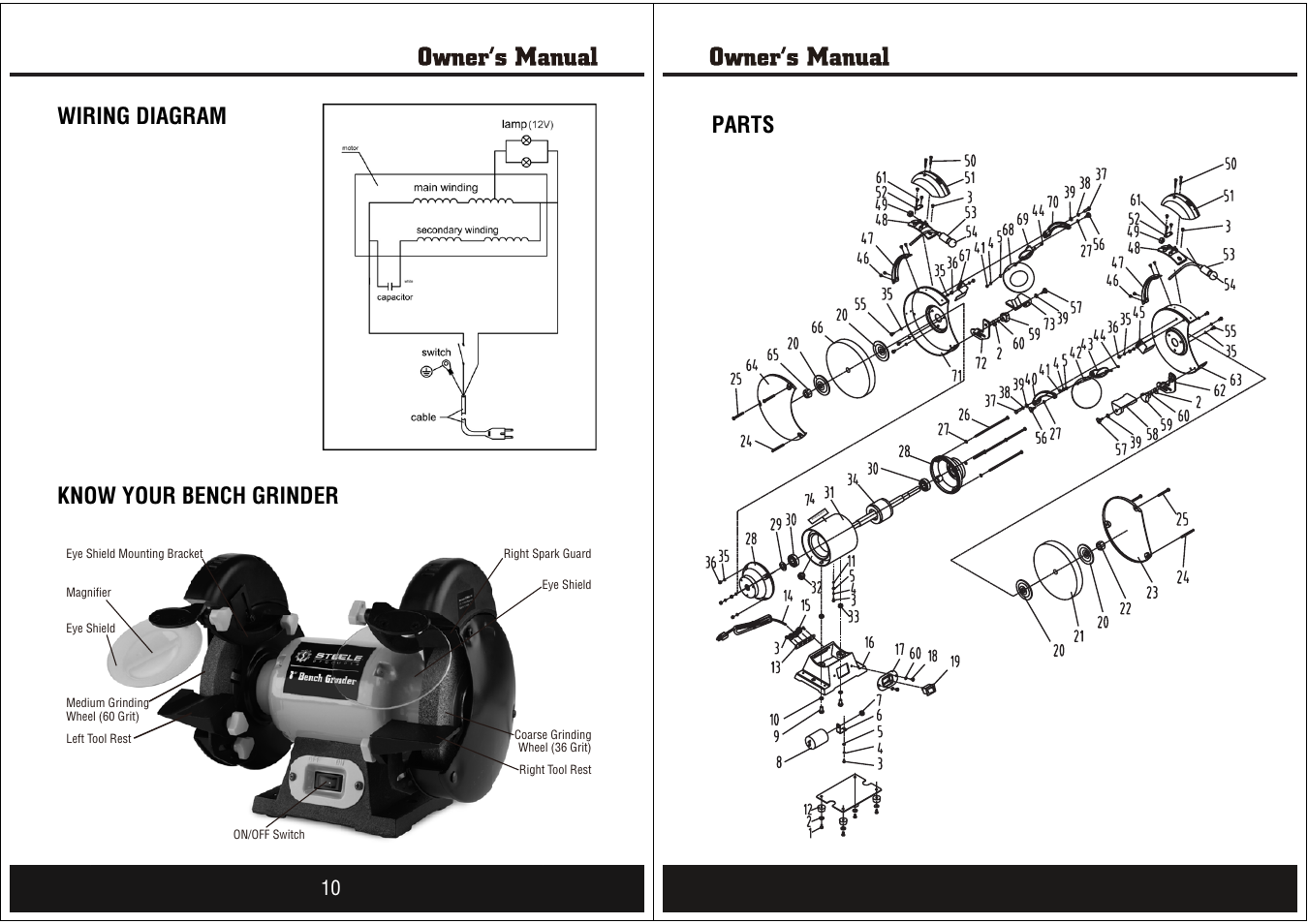 Wiring Diagram Know Your Bench Grinder Parts 11 Masterforce 8 Steele Products Sp Pb008 User Manual Page 6
