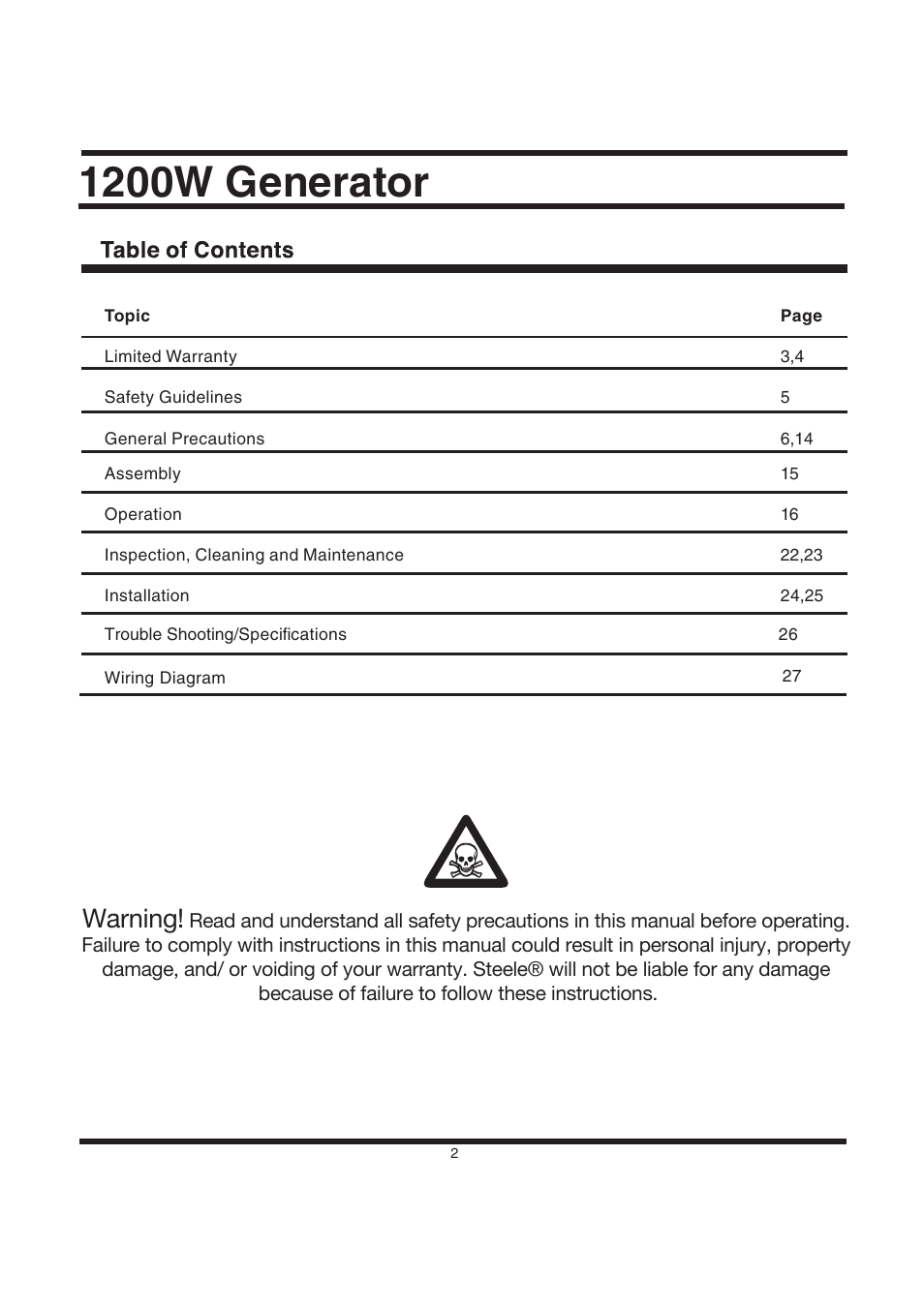 1200w generator, Warning | Steele Products SP-GG120CM User Manual | Page 3  / 47