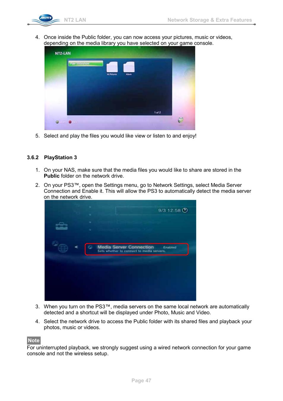 2 playstation 3, Playstation 3   AKiTiO NT2 LAN User Manual   Page ...