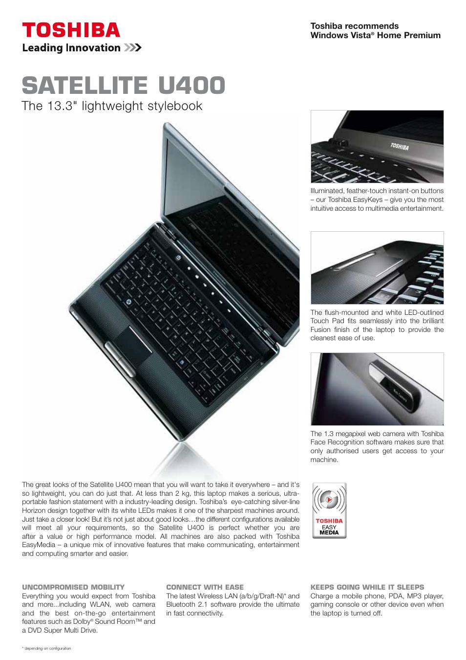 toshiba satellite u400 user manual 2 pages rh manualsdir com Toshiba Air Conditioning Zune MP3 Player Toshiba