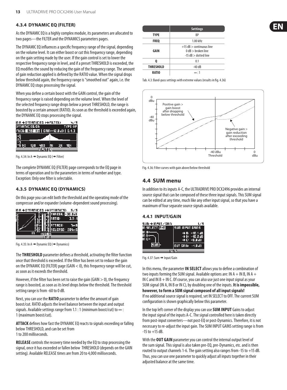 4 sum menu behringer ultradrive pro dcx2496 user manual page 13 rh manualsdir com Behringer X32 Mixer Behringer DriveRack