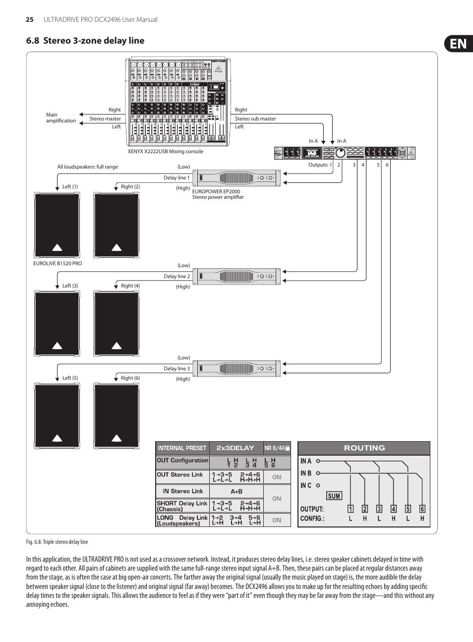 8 stereo 3 zone delay line behringer ultradrive pro dcx2496 user rh manualsdir com Behringer 2496 Manual Behringer 2496 Manual