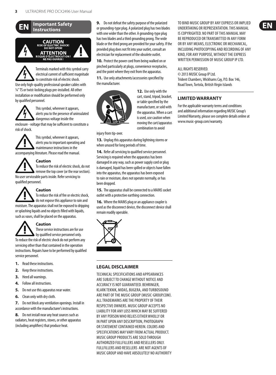 behringer ultradrive pro dcx2496 user manual page 3 35 rh manualsdir com Behringer Ultradrive Pro DCX2496 Manual behringer ultradrive pro dcx2496 user manual