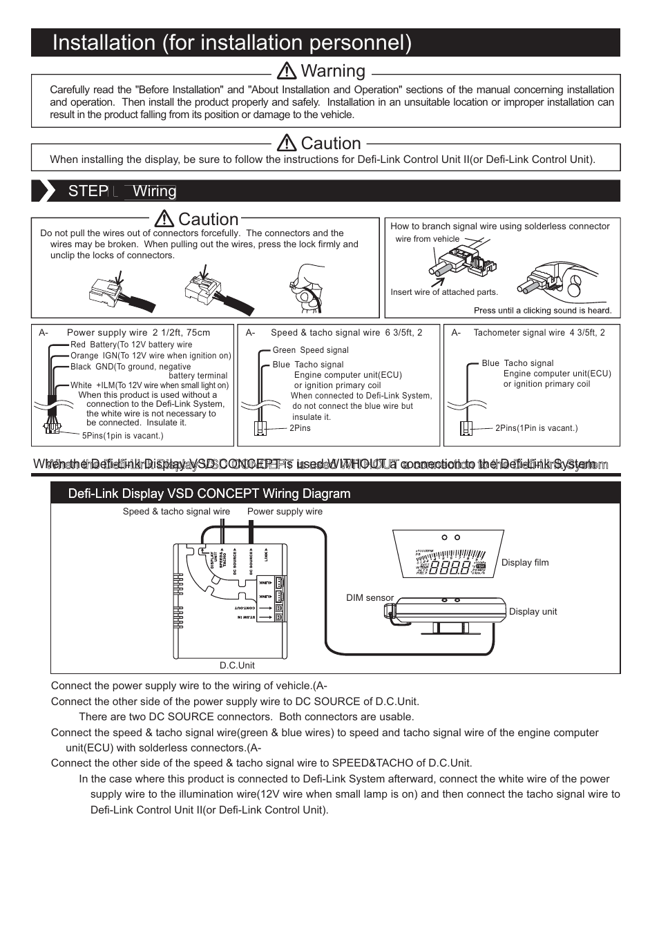 defi link vsd concept page3 installation (for installation personnel), warning, caution defi defi tachometer wiring diagram at bayanpartner.co