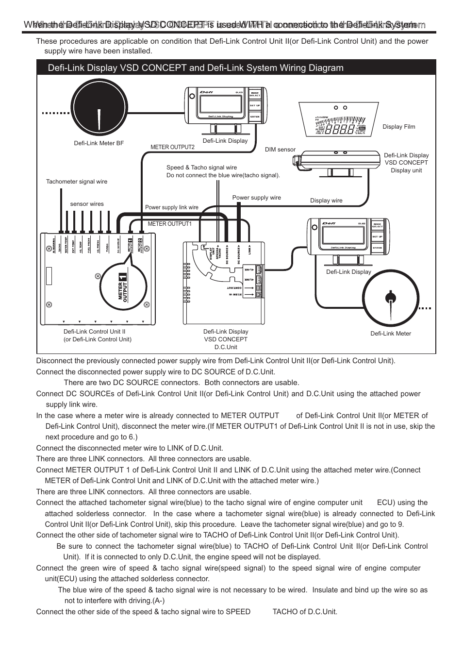Defi Link Vsd Concept User Manual Page 4 16 Wire Tach Wiring