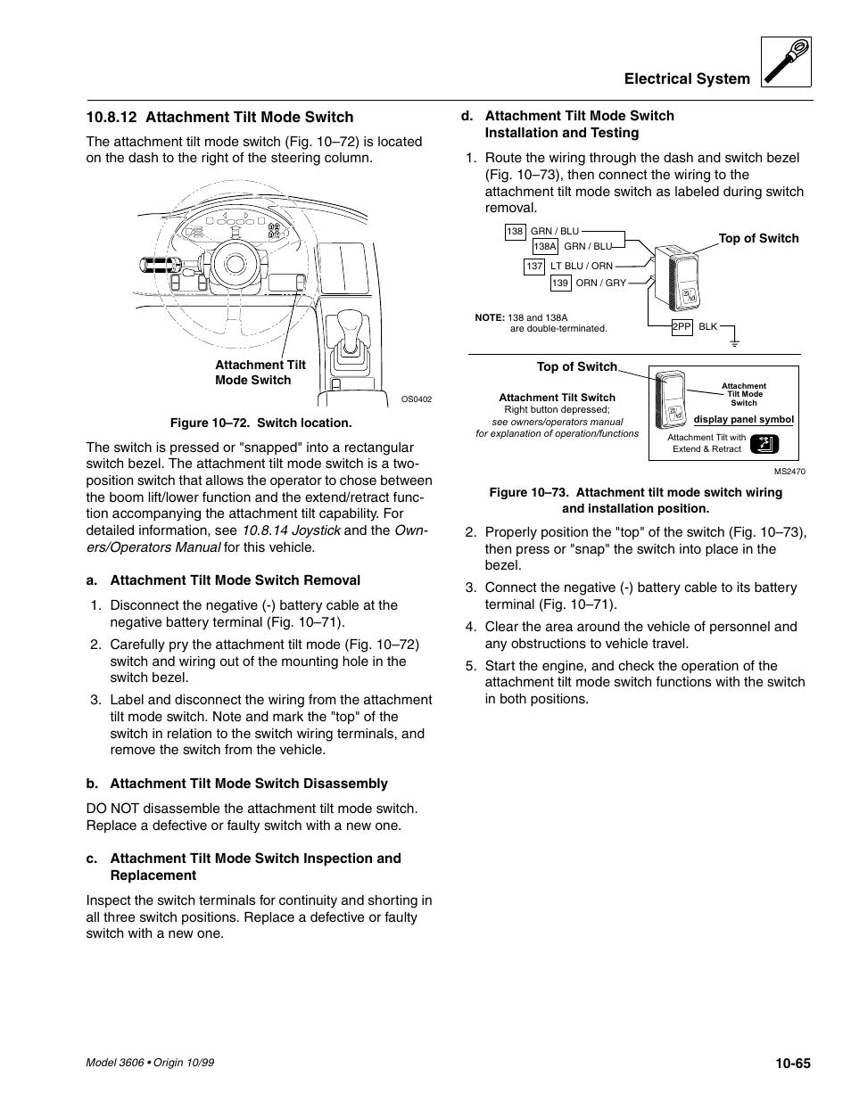 Electrical System 12 Attachment Tilt Mode Switch Skytrak 3606