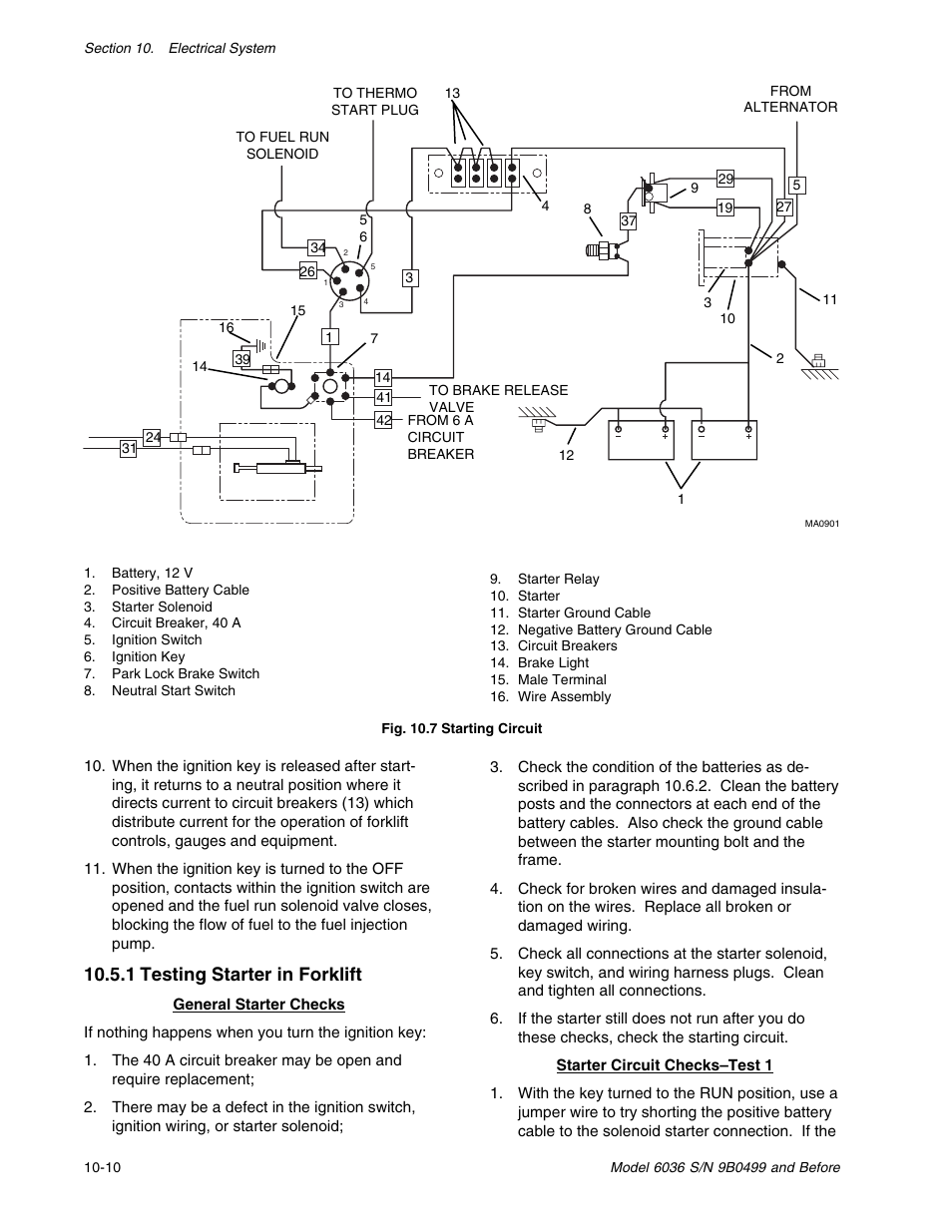 skytrak 6036 service manual page204 1 testing starter in forklift skytrak 6036 service manual user