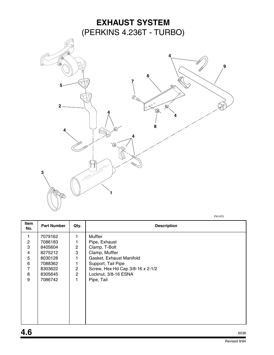 Exhaust system (perkins 4.236t - turbo)   SkyTrak 6036 Parts Manual User  Manual   Page 112 / 300
