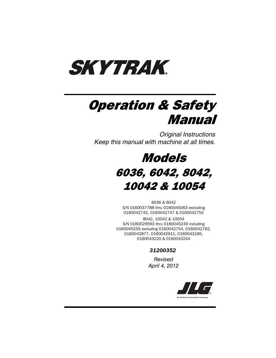 SkyTrak 10054 Operation Manual User Manual 170 pages – Operation Manual