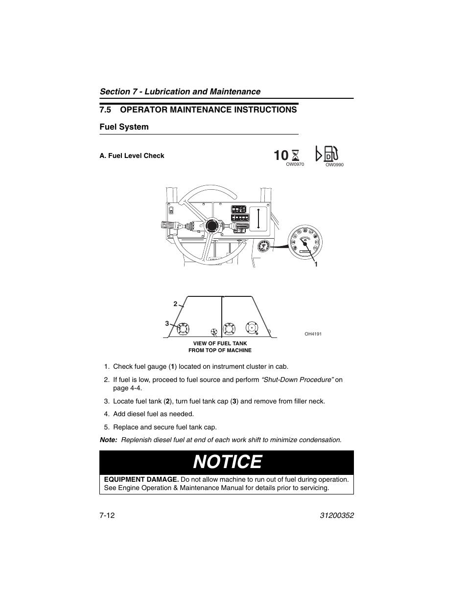 5 operator maintenance instructions, Fuel system, 5 operator