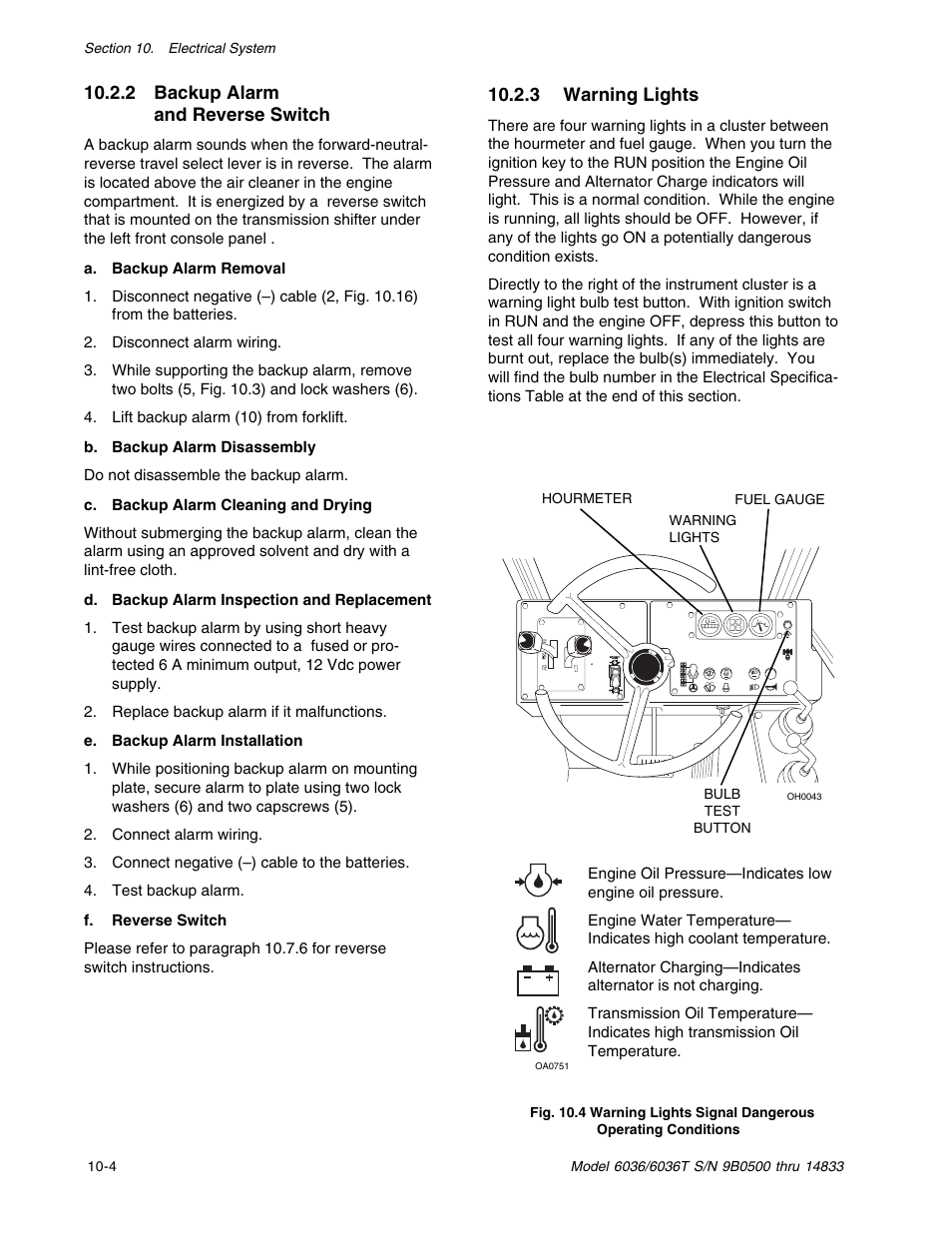 2 backup alarm and reverse switch, 3 warning lights | SkyTrak 6036 Service  Manual User Manual | Page 266 / 342