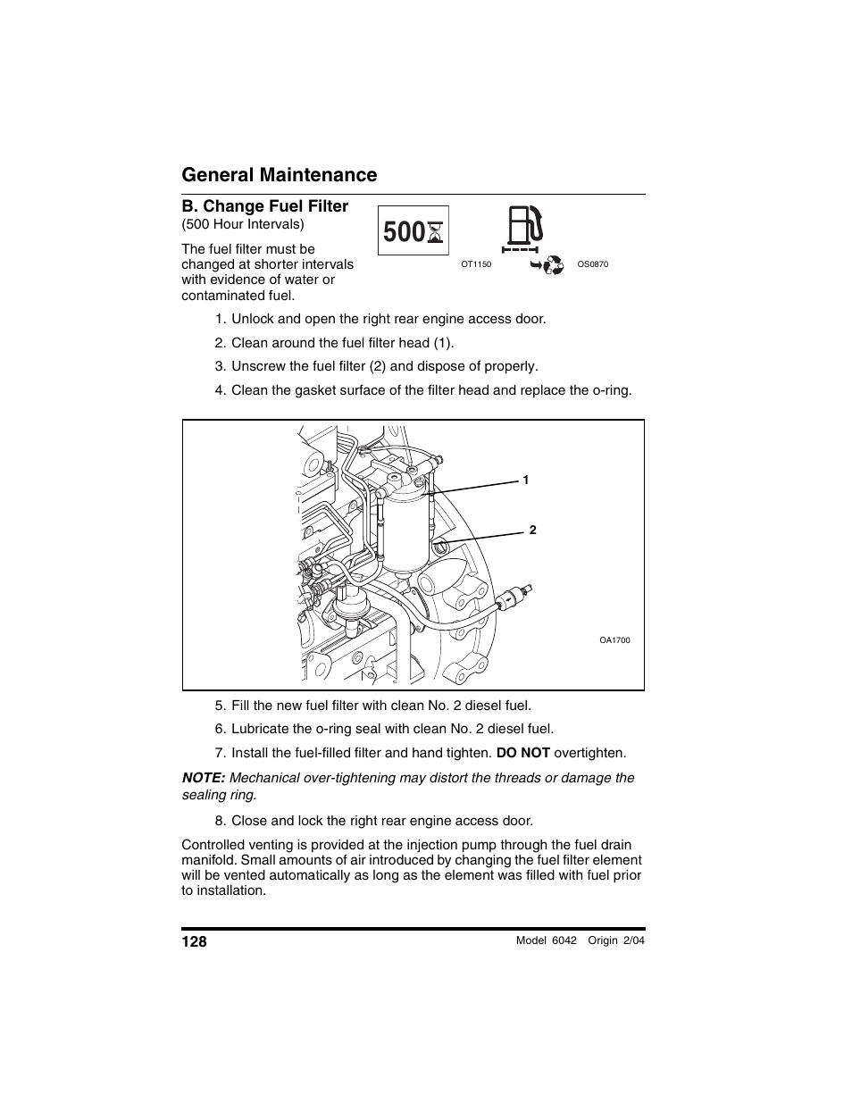 B Change Fuel Filter 500 Hour Intervals Unlock And Open The 7 3 Diesel Replacement Right Rear Engine Access Door Skytrak 6042 Operation Manual User Page 130 196