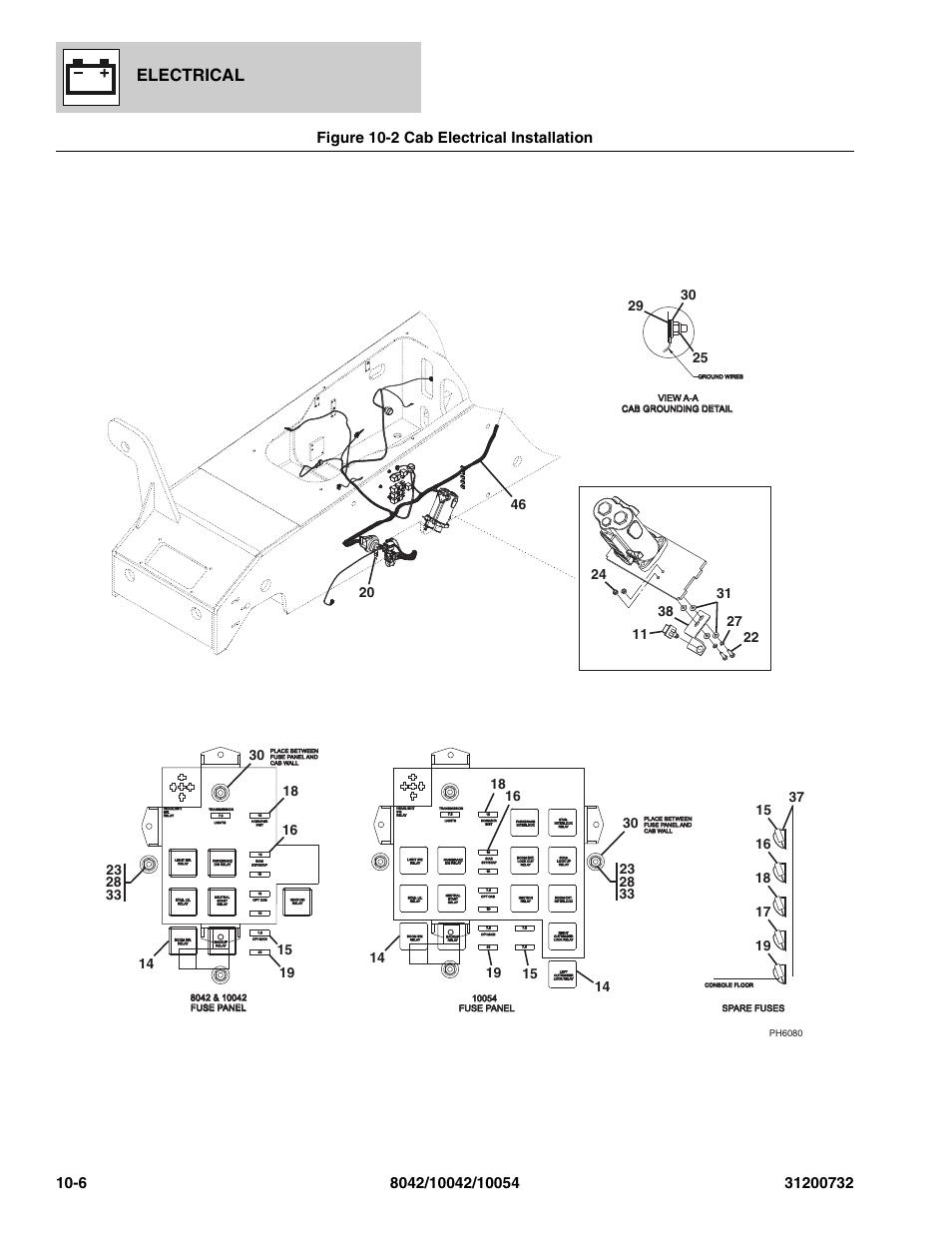 Parts Manual Skyjack 8042 Jbod Wiring Diagram Figure 10 2 Cab Electrical Installation Rh Manualsdir Com Lifts Skytrak Telehandler