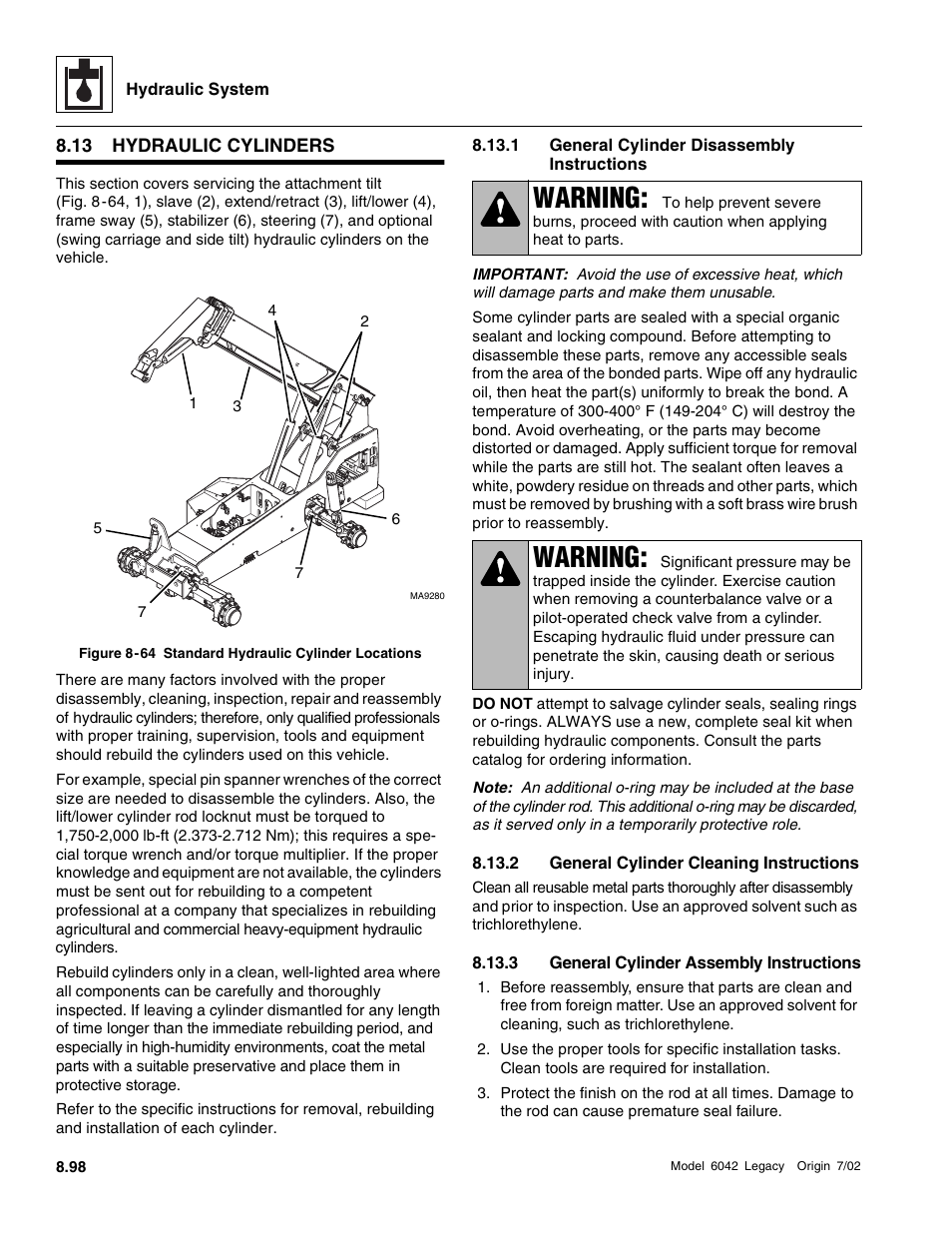Hydraulic cylinders, 1 general cylinder disassembly instructions, 2
