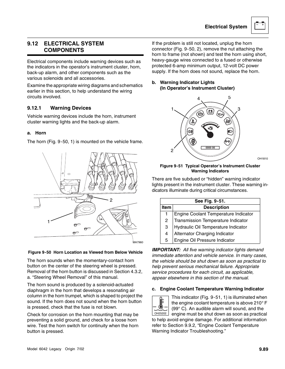 Electrical system components, Warning devices, 12 electrical system  components | SkyTrak 6042 Service Manual User Manual | Page 459 / 544