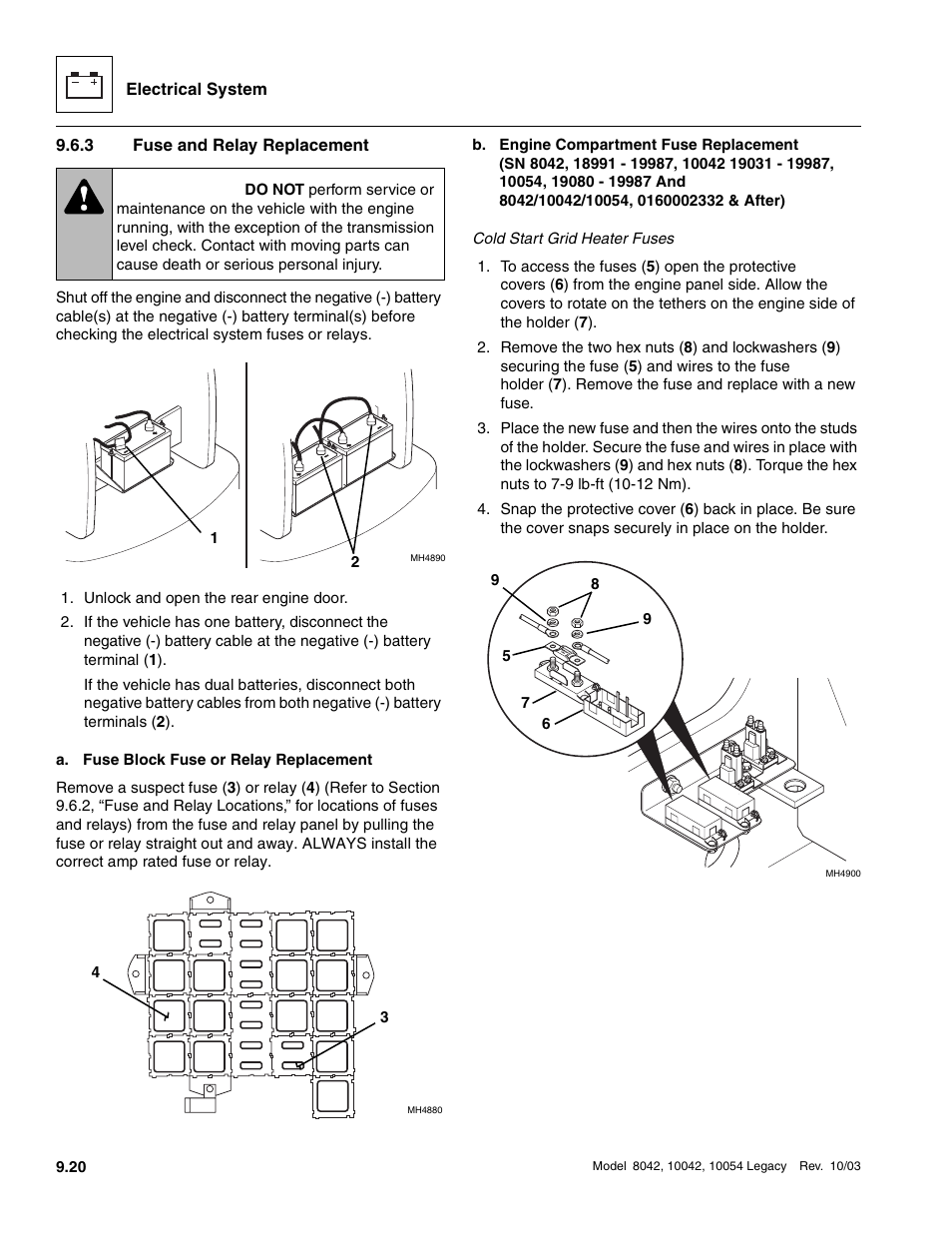 3 Fuse And Relay Replacement Warning Skytrak 8042 Service Manual Car Box Repment User Page 611 906