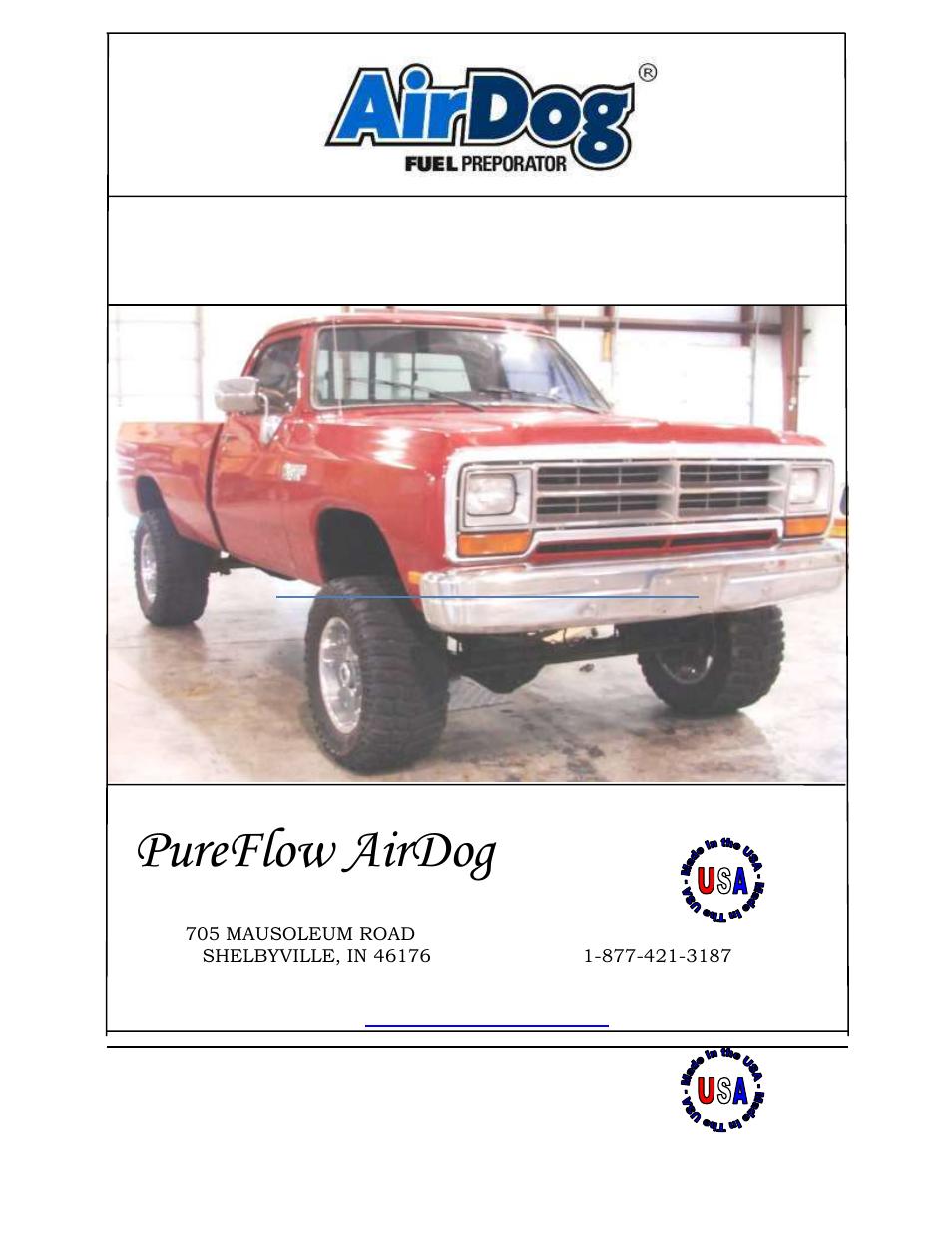 PureFlow AirDog FP-150 - Dodge Cummins 1989-1993 User Manual | 27 pages |  Also for: FP-100 - Dodge Cummins 1989-1993