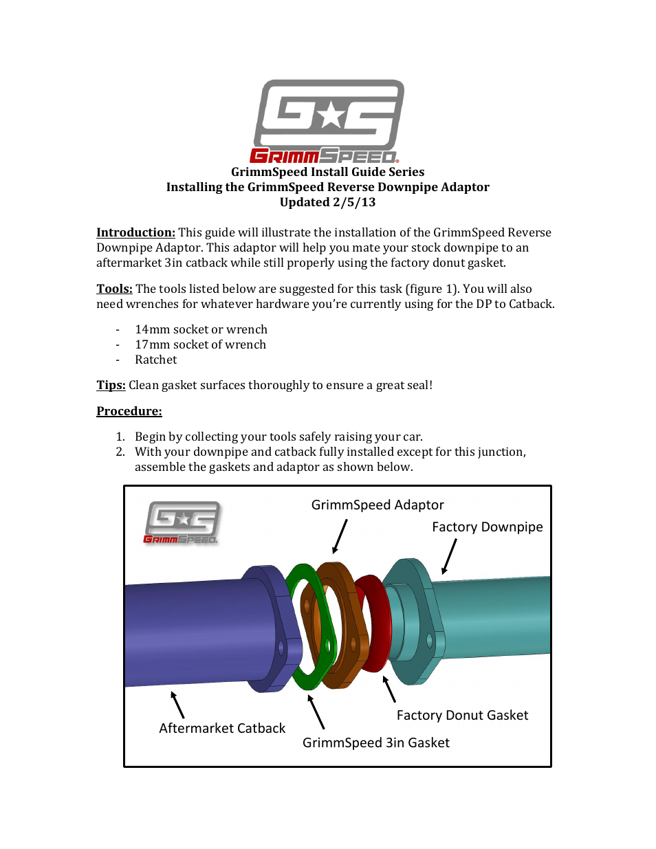 GrimmSpeed Subaru Reverse Downpipe Adapter User Manual | 2 pages